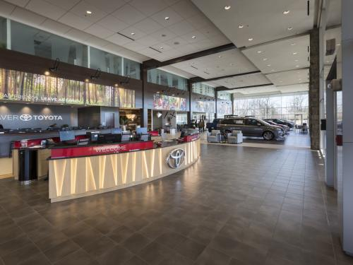 Beaver Toyota Interior  Reception and welcome desk with showroom