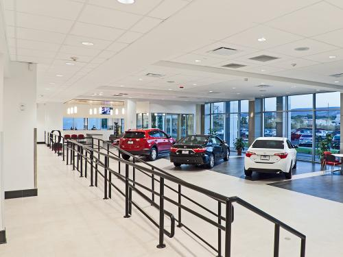 Western Slope Toyota showroom with ramp